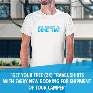 get your free (2x) travel shirts with every new booking for shipment of your camper